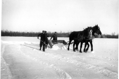 Cleaning Snow Before Ice Cutting