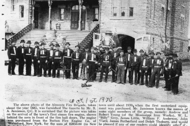 Almonte Fire Brigade In Front Of Town Hall 1885
